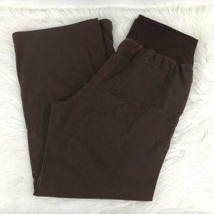 Cherokee M Maternity Scrub Pants Brown Stretch Bel